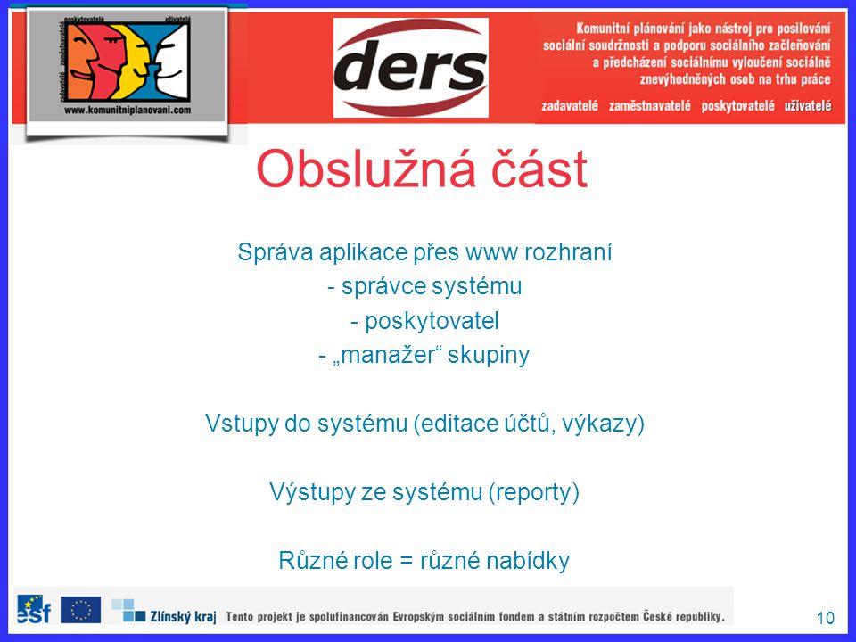 Obslužná část Správa aplikace přes www rozhraní správce systému