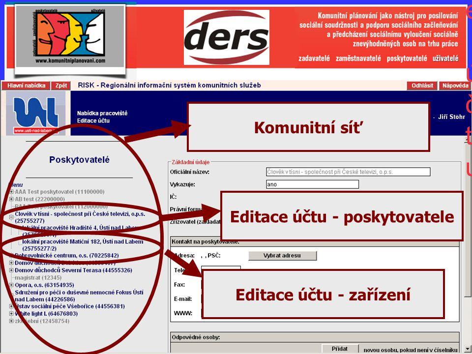 Editace účtu - poskytovatele Editace účtu - zařízení