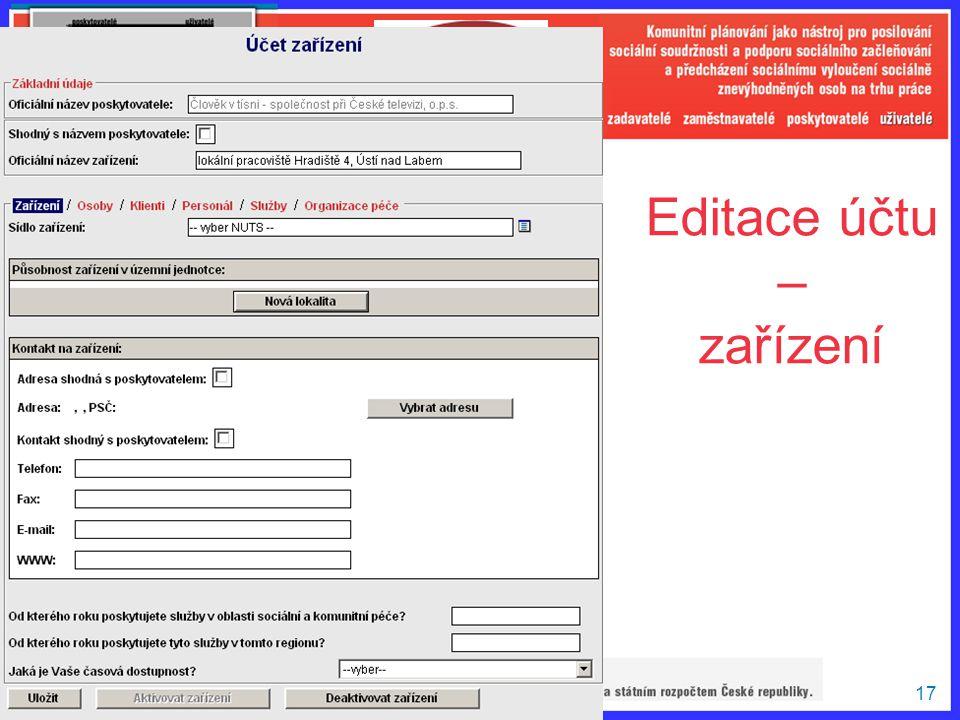 Editace účtu – zařízení
