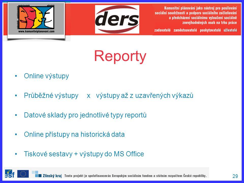 Reporty Online výstupy