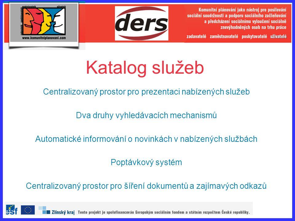 Katalog služeb Centralizovaný prostor pro prezentaci nabízených služeb