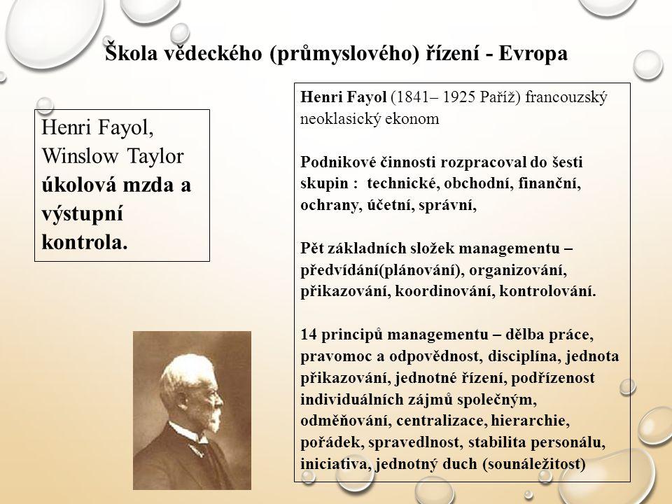 Škola vědeckého (průmyslového) řízení - Evropa