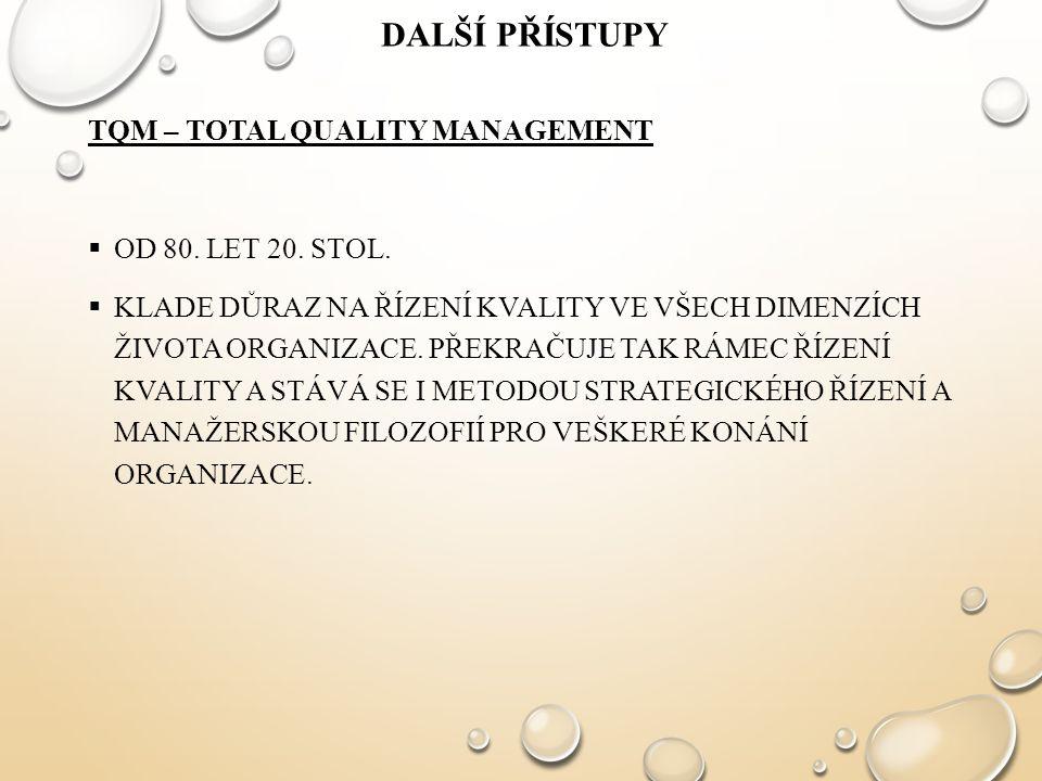 Další přístupy TQM – Total Quality Management Od 80. let 20. stol.