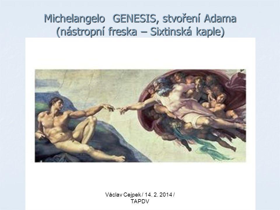 Michelangelo GENESIS, stvoření Adama (nástropní freska – Sixtinská kaple)