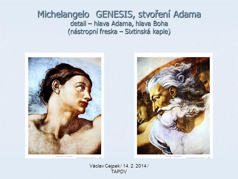 Michelangelo GENESIS, stvoření Adama detail – hlava Adama, hlava Boha (nástropní freska – Sixtinská kaple)