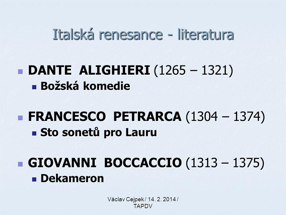 Italská renesance - literatura
