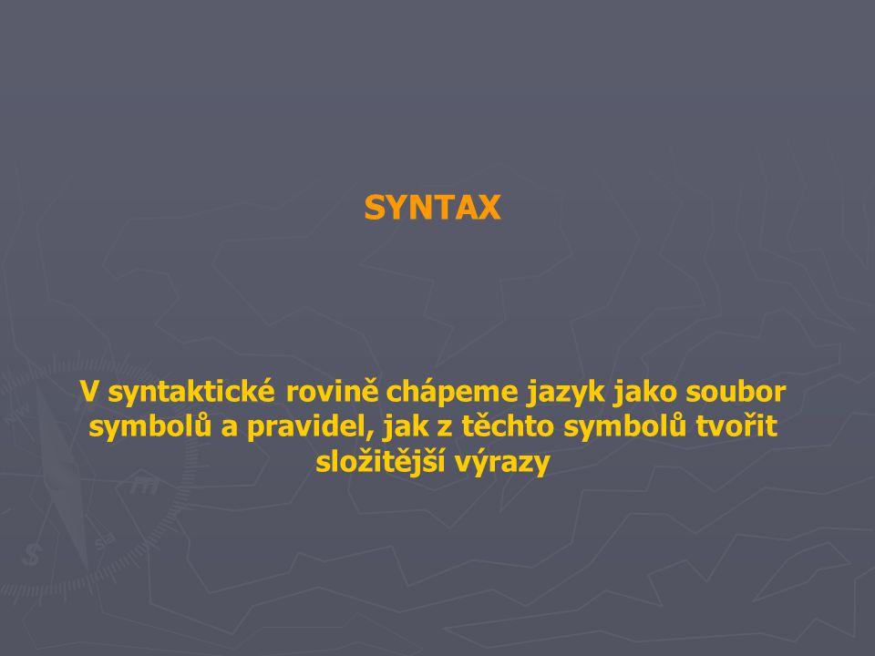 SYNTAX V syntaktické rovině chápeme jazyk jako soubor symbolů a pravidel, jak z těchto symbolů tvořit složitější výrazy.
