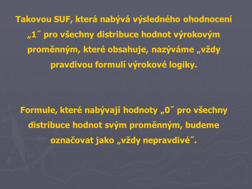 """Takovou SUF, která nabývá výsledného ohodnocení """"1˝ pro všechny distribuce hodnot výrokovým proměnným, které obsahuje, nazýváme """"vždy pravdivou formulí výrokové logiky."""