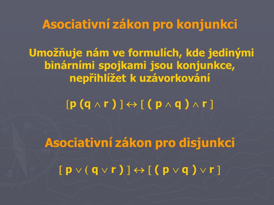 Asociativní zákon pro konjunkci Asociativní zákon pro disjunkci