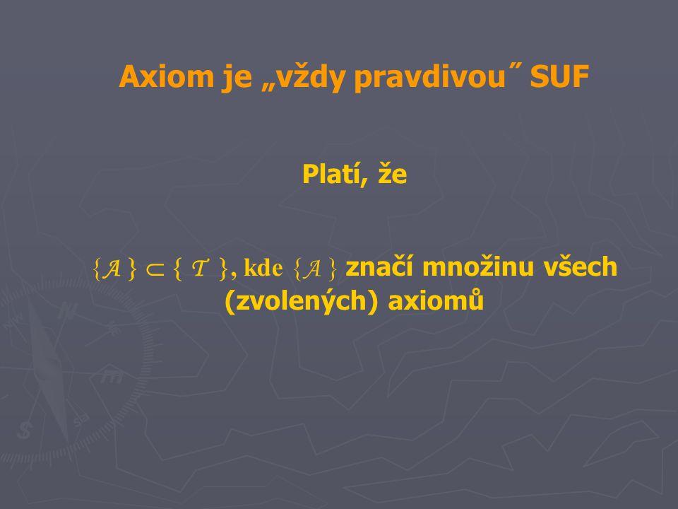 """Axiom je """"vždy pravdivou˝ SUF"""