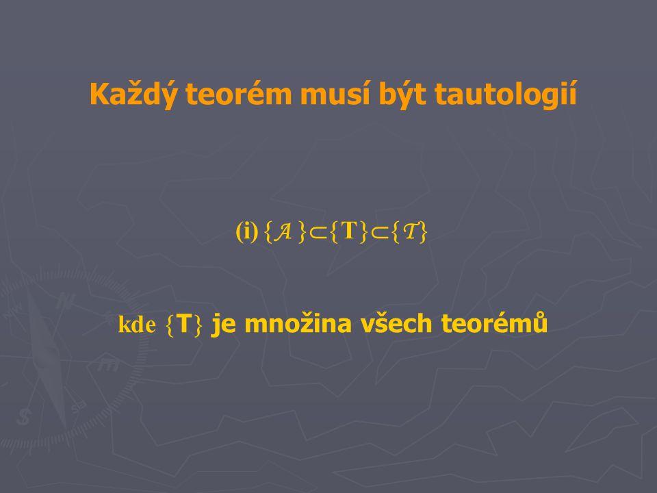 Každý teorém musí být tautologií