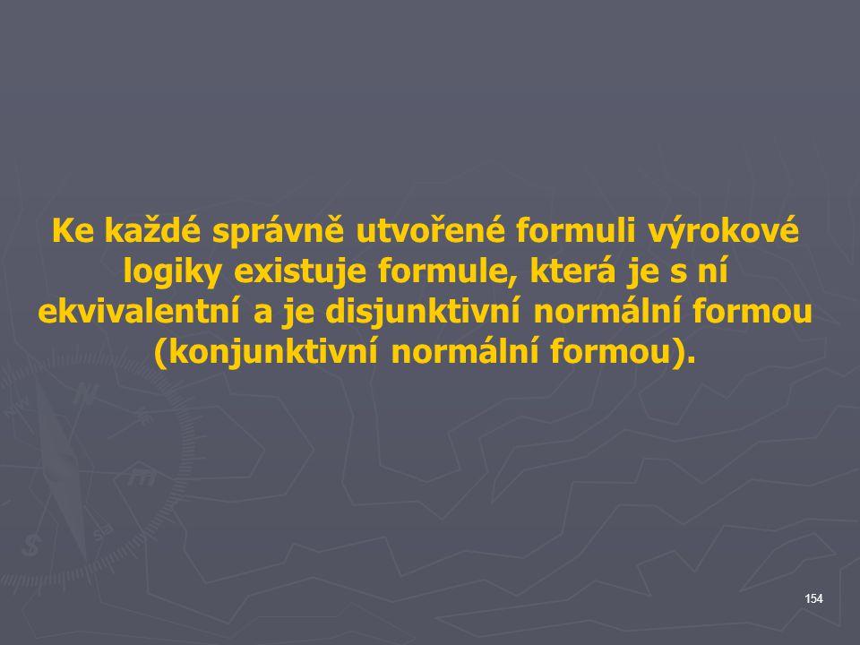 Ke každé správně utvořené formuli výrokové logiky existuje formule, která je s ní ekvivalentní a je disjunktivní normální formou (konjunktivní normální formou).
