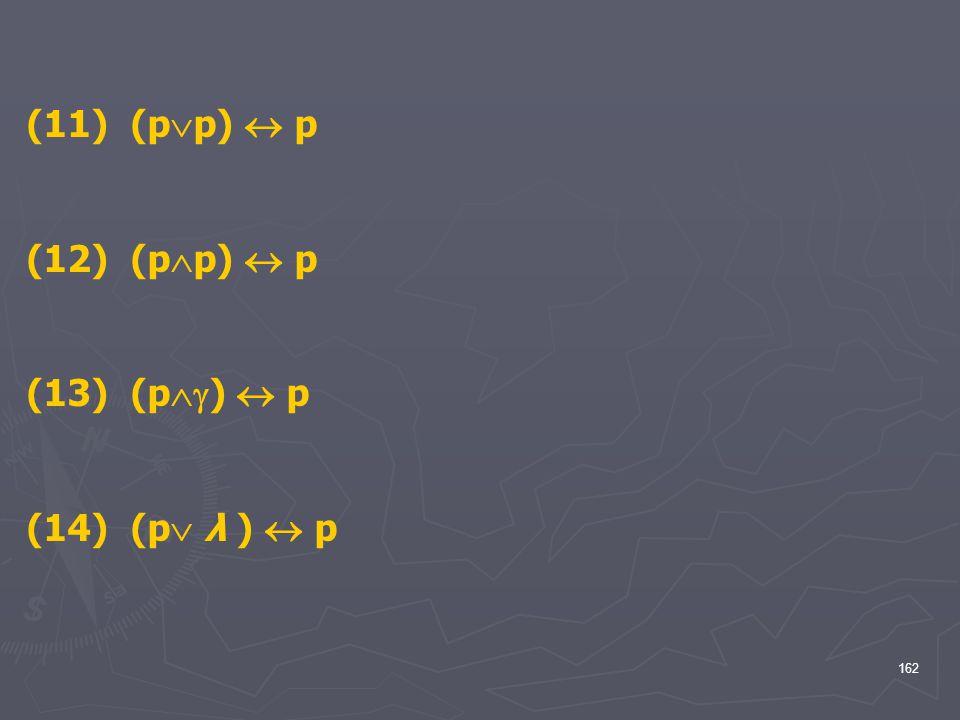 (11) (pp)  p (12) (pp)  p (13) (p)  p (14) (p λ )  p