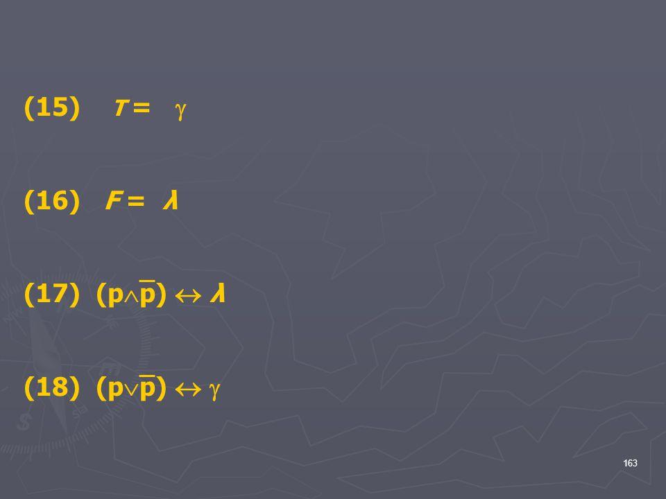 (15) T =  (16) F = λ (17) (pp)  λ (18) (pp)  