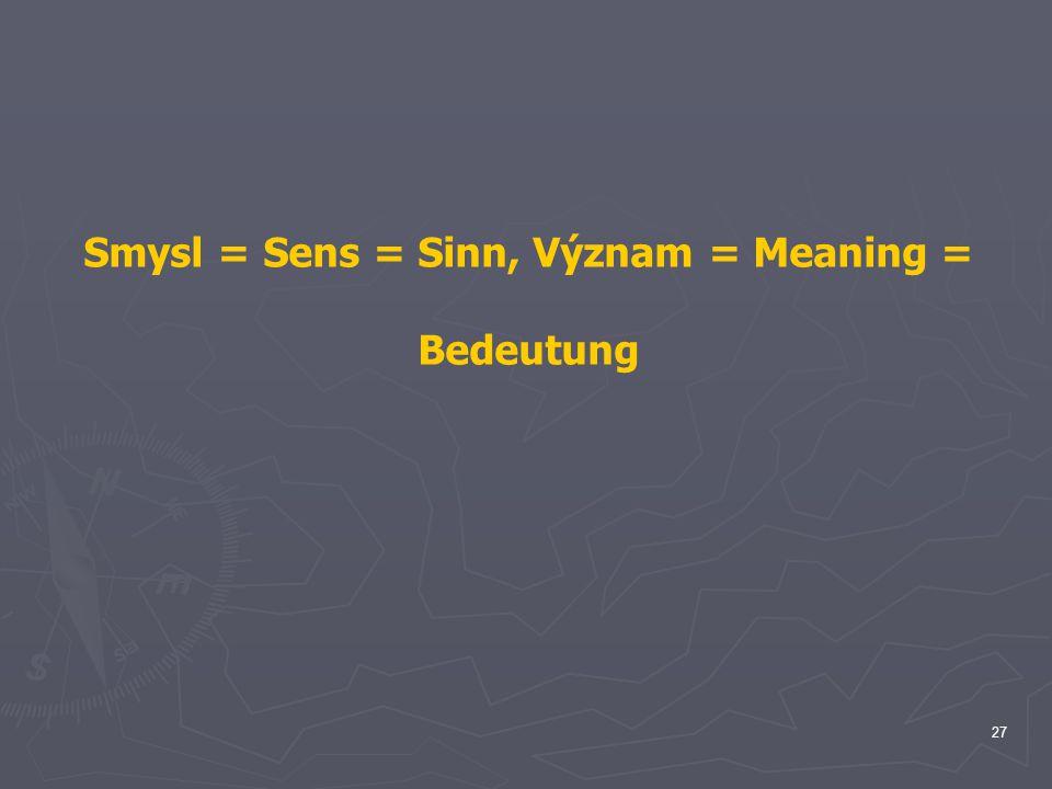 Smysl = Sens = Sinn, Význam = Meaning =
