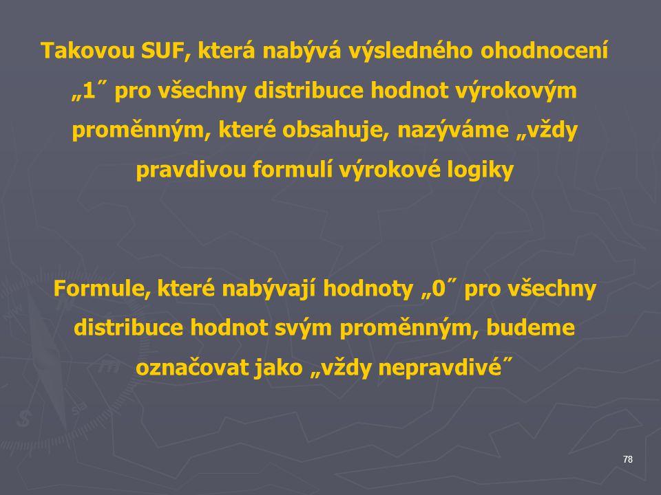 """Takovou SUF, která nabývá výsledného ohodnocení """"1˝ pro všechny distribuce hodnot výrokovým proměnným, které obsahuje, nazýváme """"vždy pravdivou formulí výrokové logiky"""