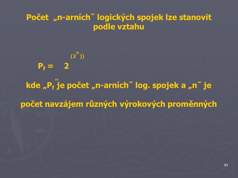 "kde ""Pf je počet ""n-arních˝ log. spojek a ""n˝ je"