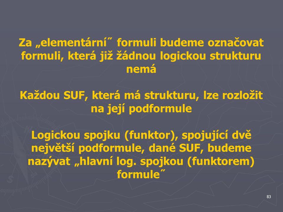 Každou SUF, která má strukturu, lze rozložit na její podformule