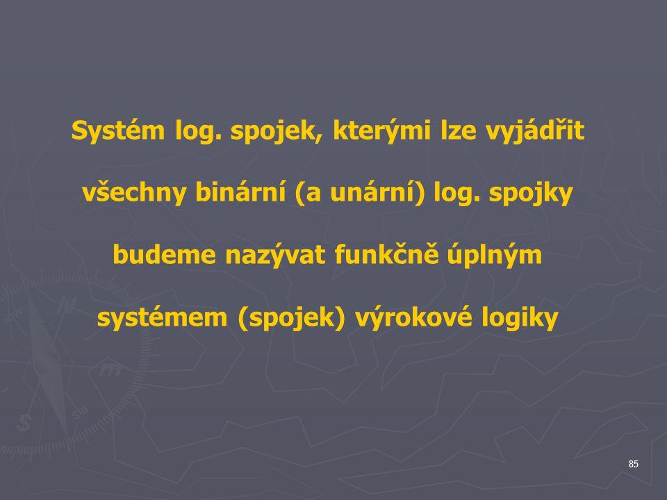 Systém log. spojek, kterými lze vyjádřit