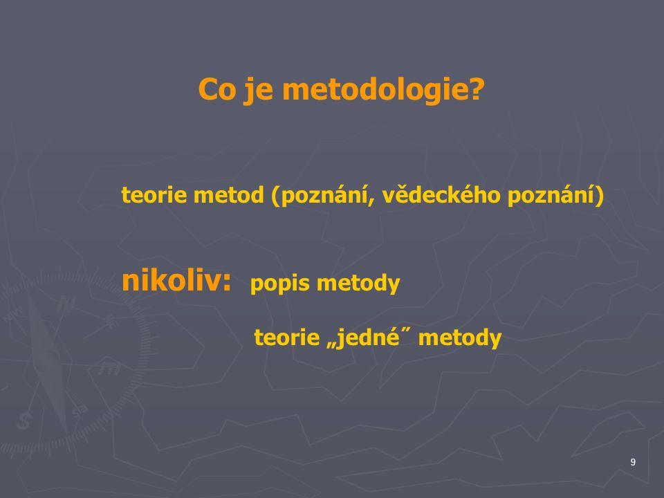 Co je metodologie teorie metod (poznání, vědeckého poznání)