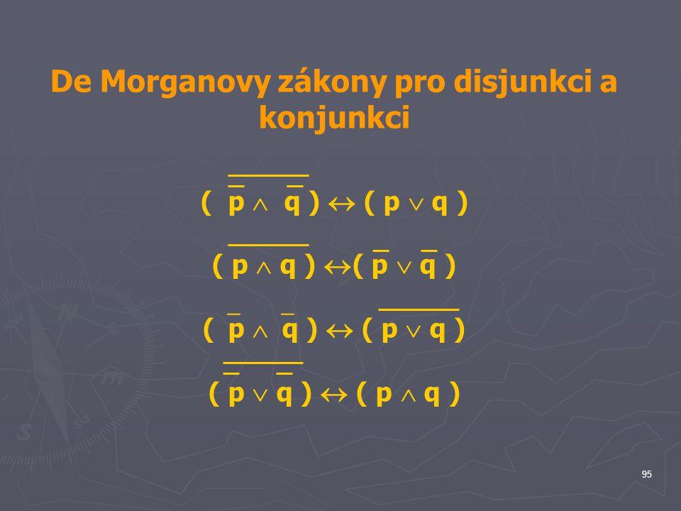 De Morganovy zákony pro disjunkci a konjunkci