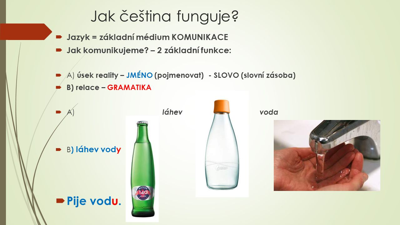 Jak čeština funguje Pije vodu. Jazyk = základní médium KOMUNIKACE