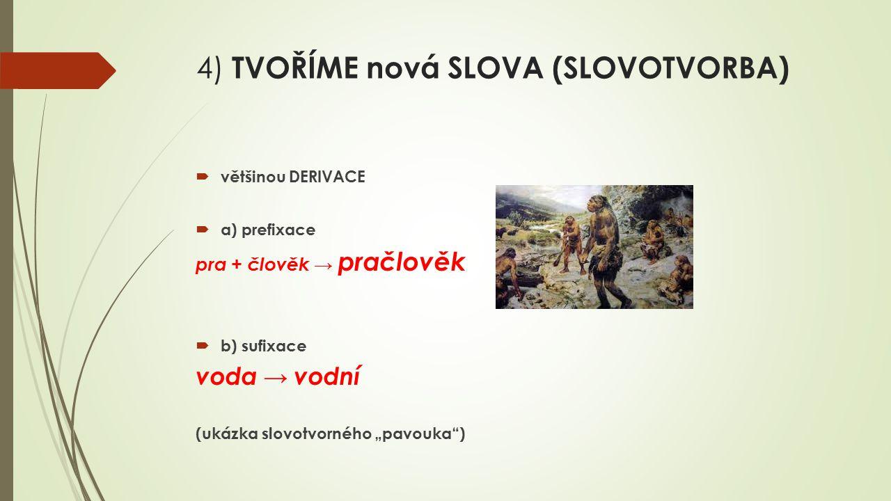 4) TVOŘÍME nová SLOVA (SLOVOTVORBA)