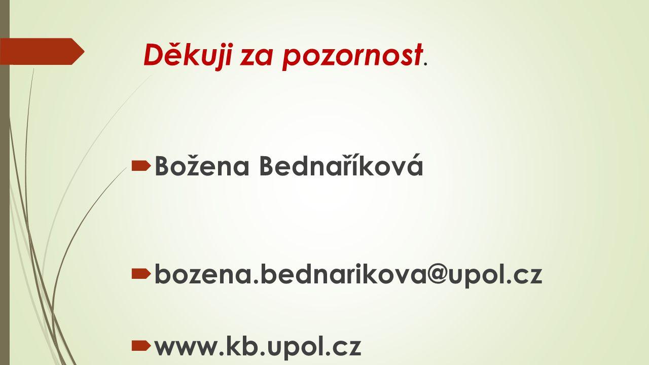 Děkuji za pozornost. Božena Bednaříková bozena.bednarikova@upol.cz