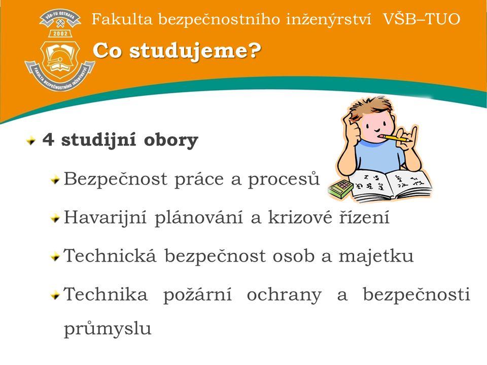 Co studujeme 4 studijní obory Bezpečnost práce a procesů