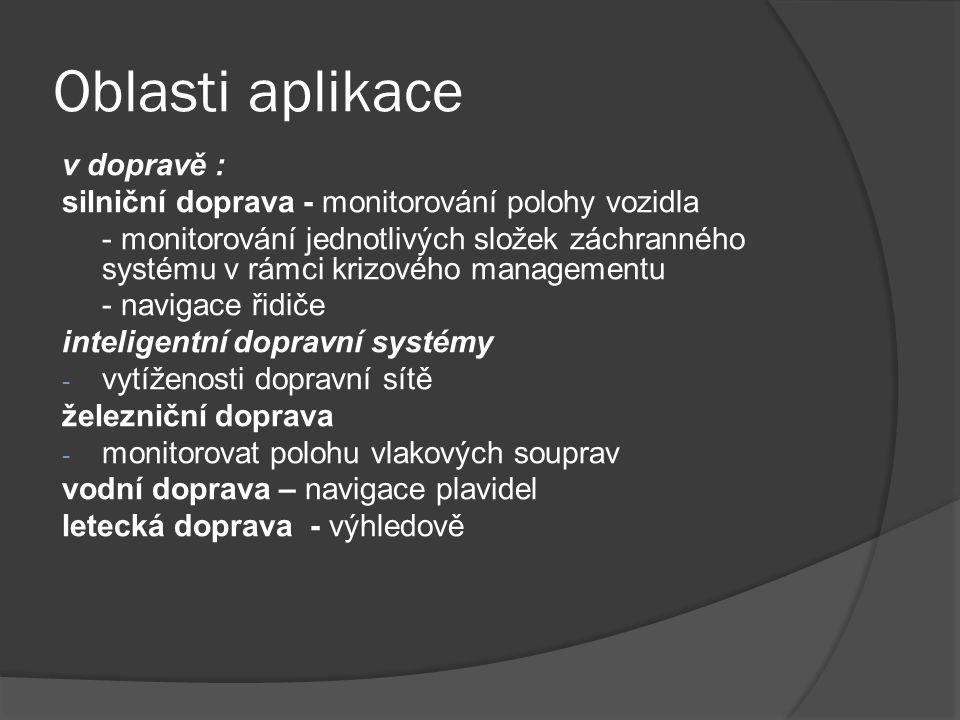 Oblasti aplikace v dopravě :