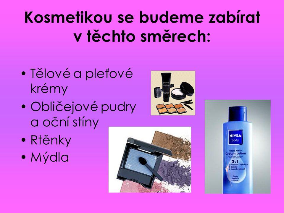 Kosmetikou se budeme zabírat v těchto směrech:
