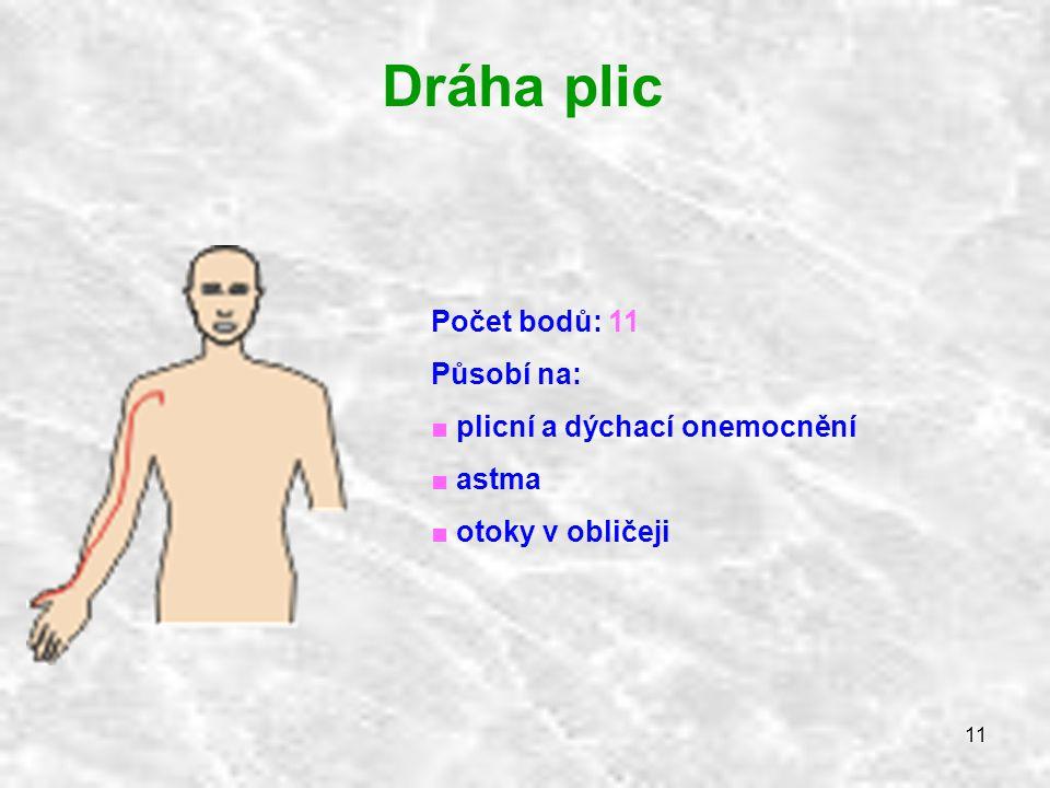 Dráha plic Počet bodů: 11 Působí na: plicní a dýchací onemocnění astma