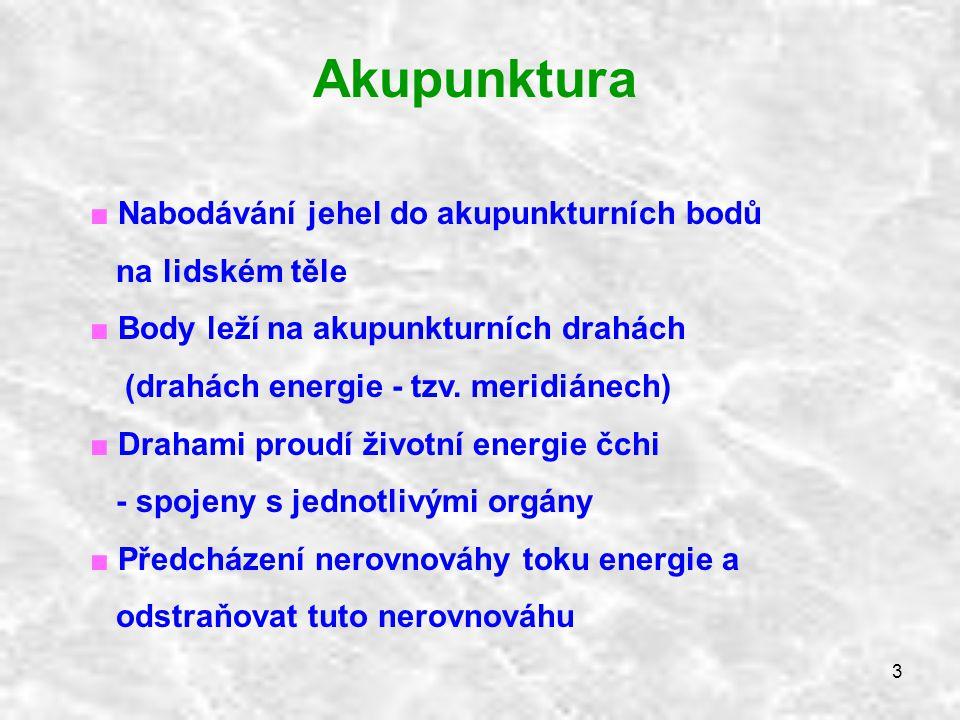 Akupunktura Nabodávání jehel do akupunkturních bodů na lidském těle