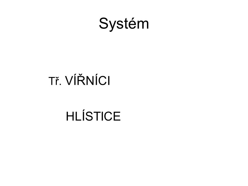 Systém Tř. VÍŘNÍCI HLÍSTICE