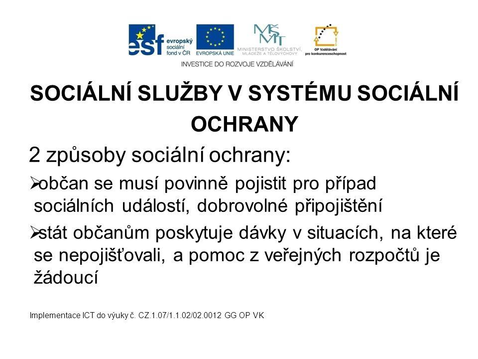 SOCIÁLNÍ SLUŽBY V SYSTÉMU SOCIÁLNÍ