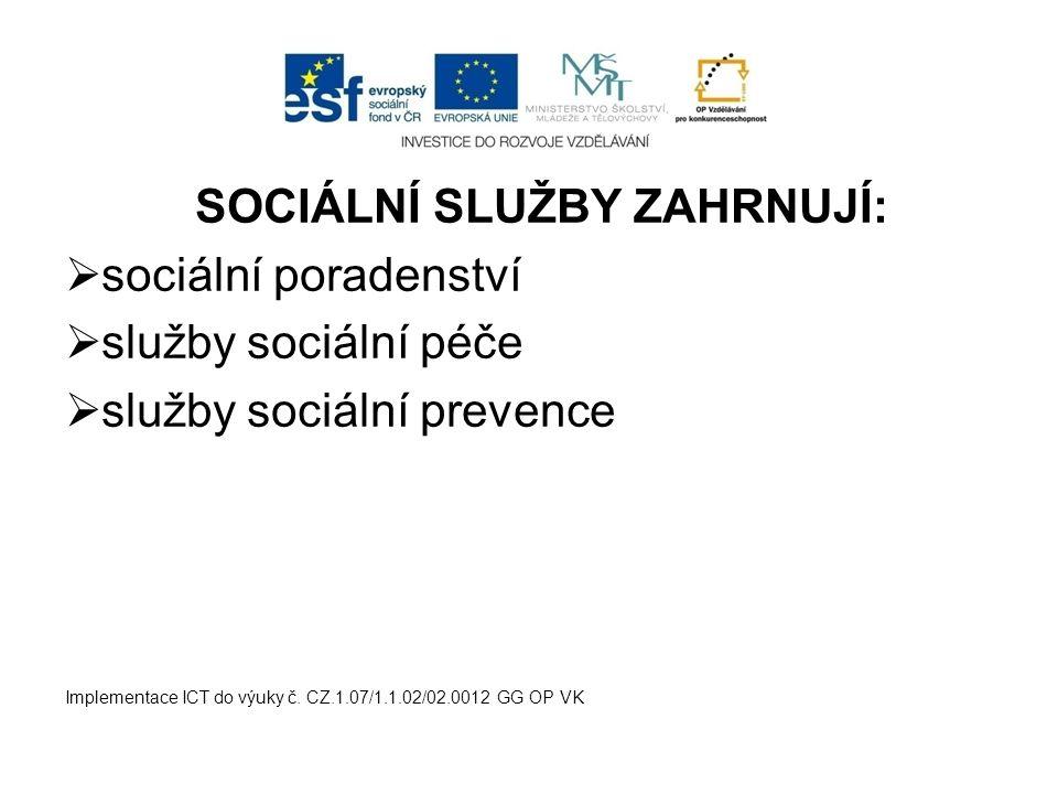 SOCIÁLNÍ SLUŽBY ZAHRNUJÍ: