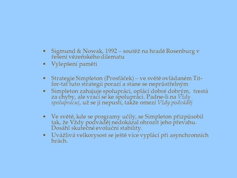 Sigmund & Nowak, 1992 – soutěž na hradě Rosenburg v řešení vězeňského dilematu
