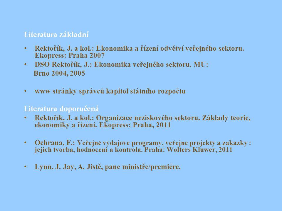 Literatura základní Rektořík, J. a kol.: Ekonomika a řízení odvětví veřejného sektoru. Ekopress: Praha 2007.