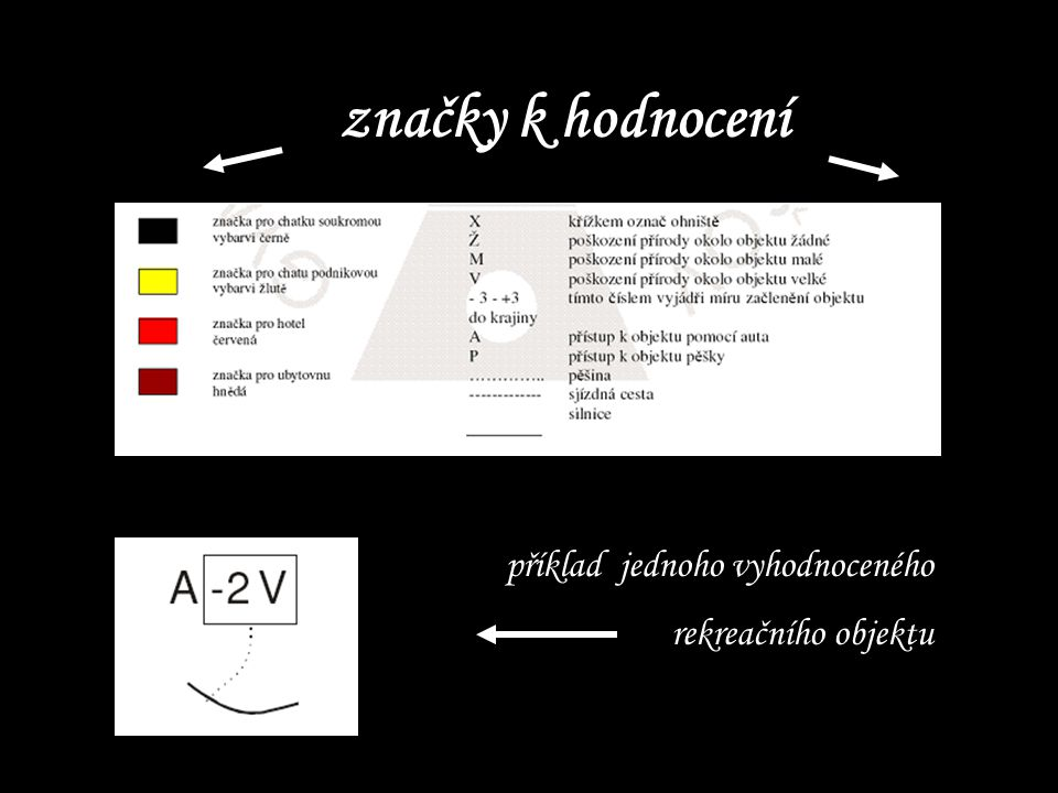 značky k hodnocení příklad jednoho vyhodnoceného rekreačního objektu