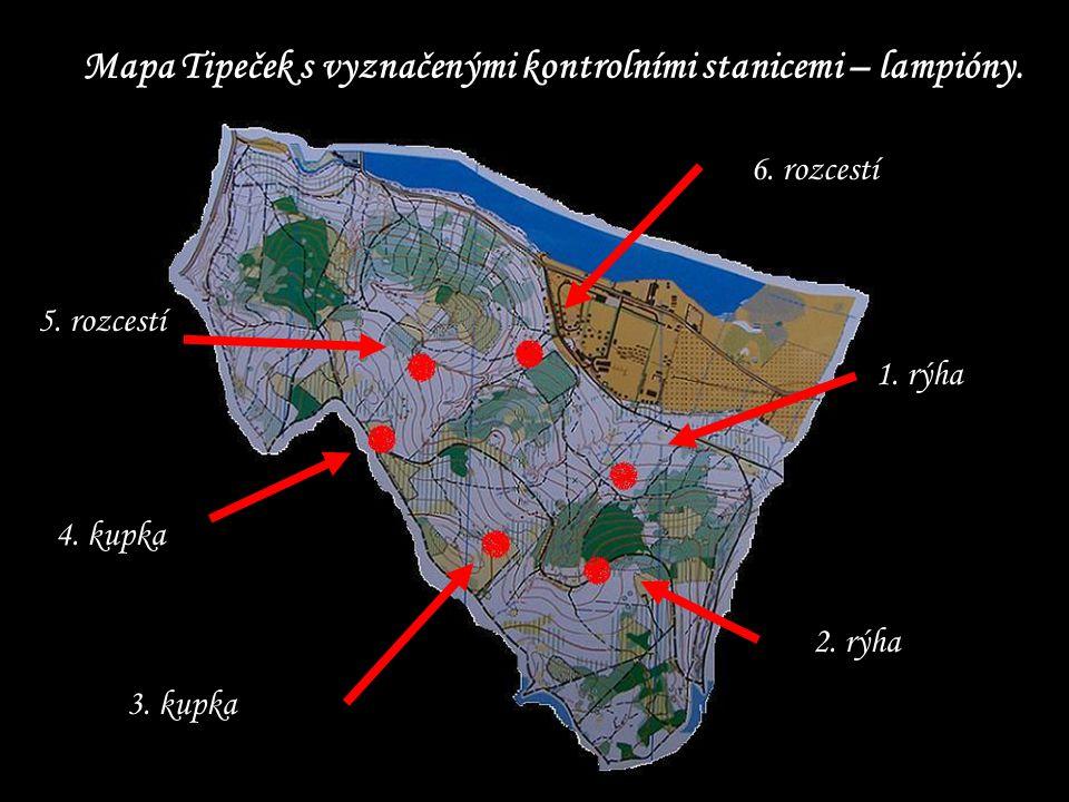 Mapa Tipeček s vyznačenými kontrolními stanicemi – lampióny.