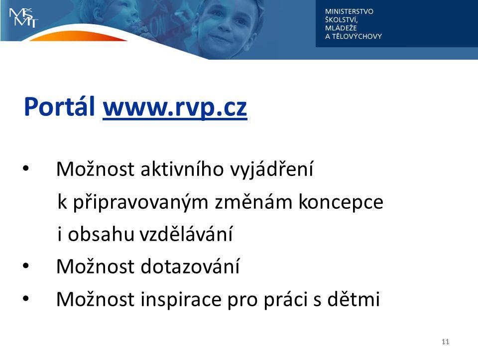 Portál www.rvp.cz Možnost aktivního vyjádření