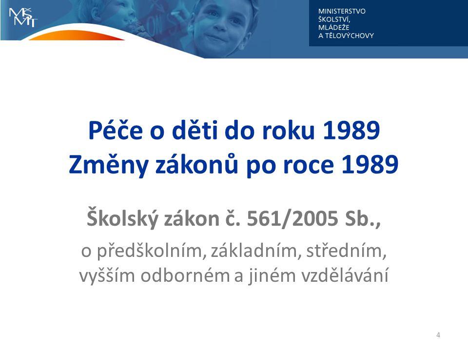 Péče o děti do roku 1989 Změny zákonů po roce 1989