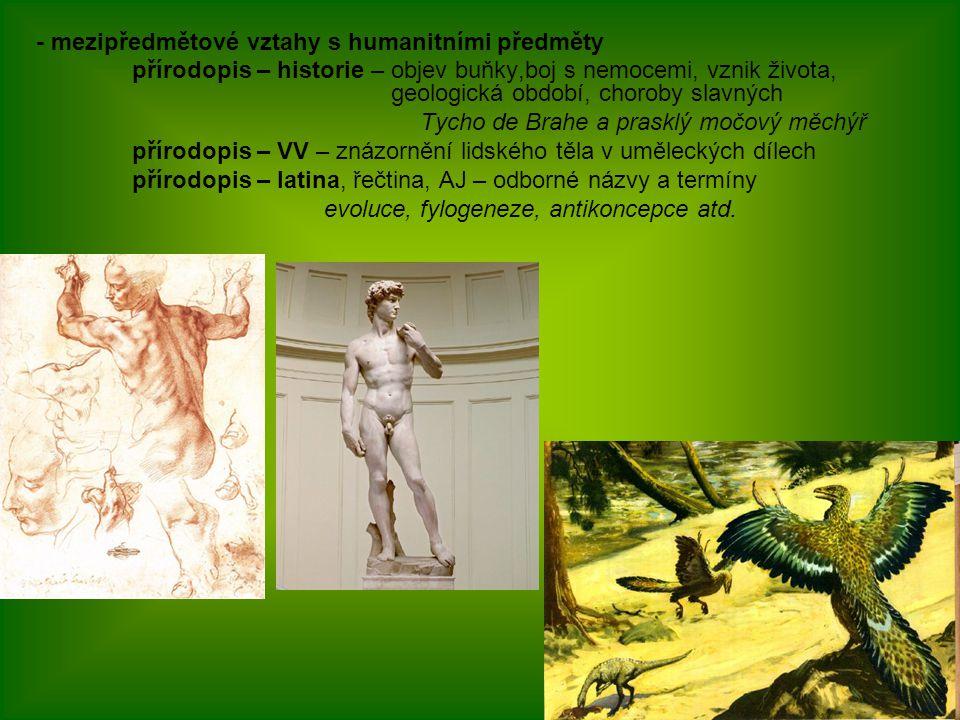 - mezipředmětové vztahy s humanitními předměty