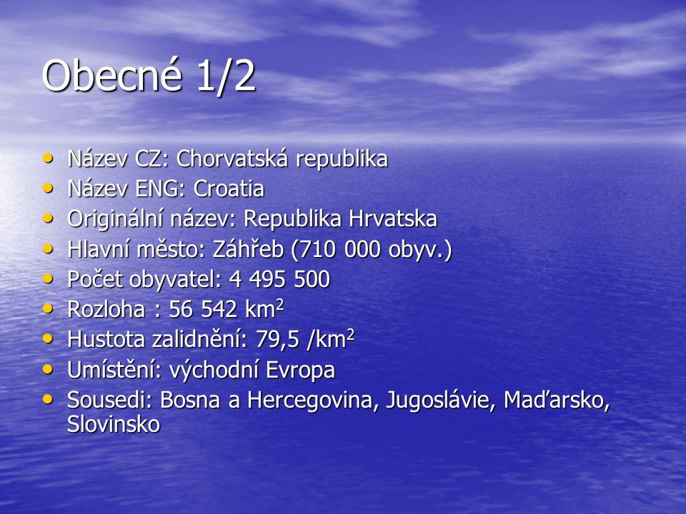 Obecné 1/2 Název CZ: Chorvatská republika Název ENG: Croatia