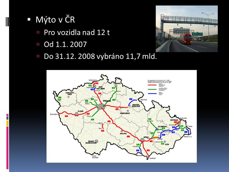 Mýto v ČR Pro vozidla nad 12 t Od 1.1. 2007