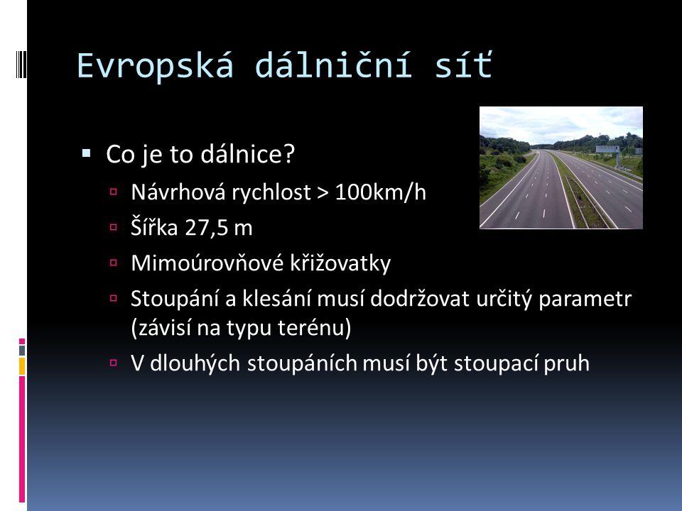 Evropská dálniční síť Co je to dálnice Návrhová rychlost > 100km/h