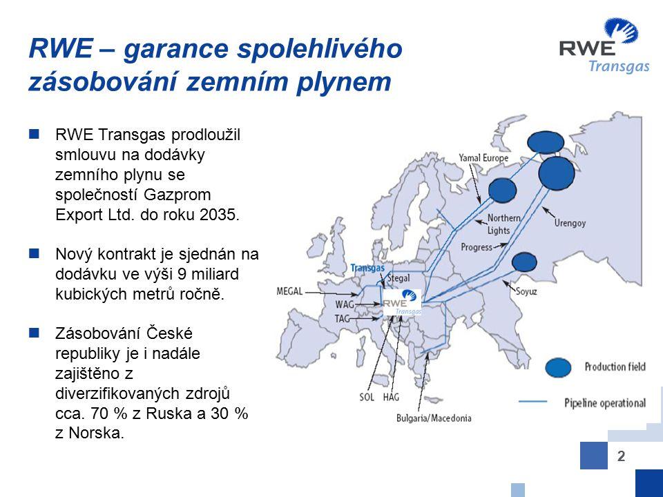 RWE – garance spolehlivého zásobování zemním plynem