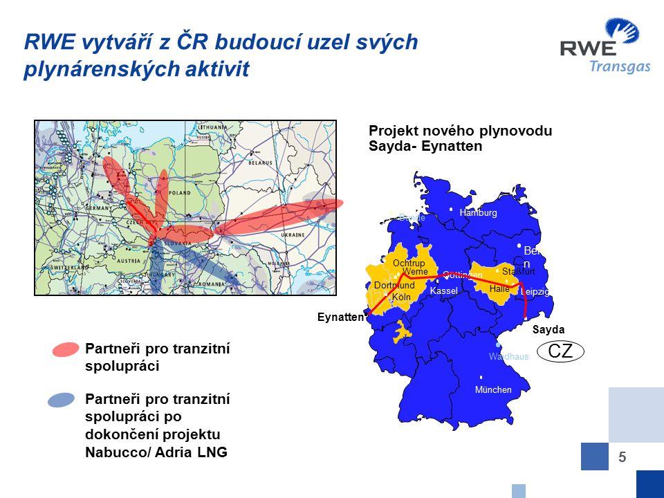 RWE vytváří z ČR budoucí uzel svých plynárenských aktivit