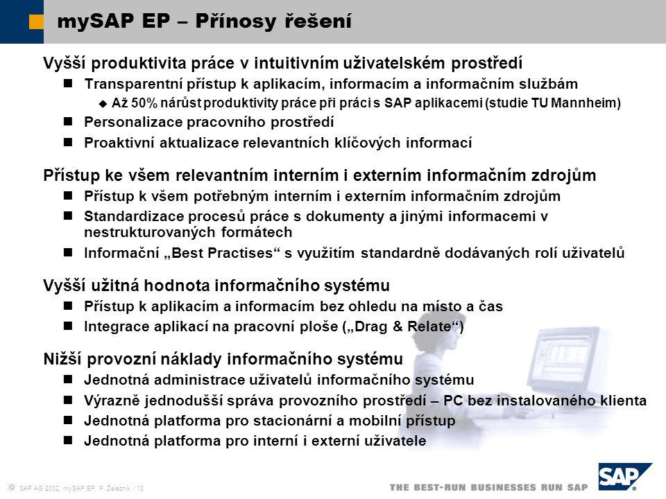 mySAP EP – Přínosy řešení