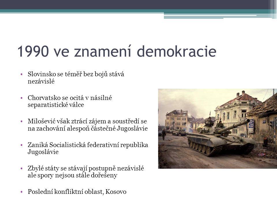 1990 ve znamení demokracie Slovinsko se téměř bez bojů stává nezávislé